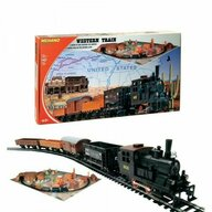 Mehano - Tren T109 Vestul Salbatic Electric, Cu locomotiva, Sina si diorama, Patru vagoane