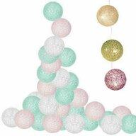 Springos - Accesoriu Cu 30 globuri textile cu led Ghirlanda luminoasa , Roz/Turcoaz