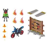 Playmobil - Motocicleta Cu perete de foc Stunt Show