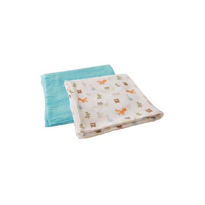 Summer Infant-56186 Set 2 paturici de muselina verde/imprimeu animalute