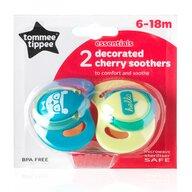 Tommee Tippee - Suzeta Basics latex, Cherry, 2 buc, 6-18 luni, Albastru/Galben