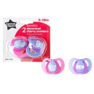 Tommee Tippee - Suzeta Basics latex, Cherry, 2 buc, 6-18 luni, Roz/Mov