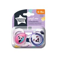 Tommee Tippee - Set suzete Ursuleti Panda 6-18 luni, 2 buc, Ortodontice, Anytime din Silicon, Alb/Roz