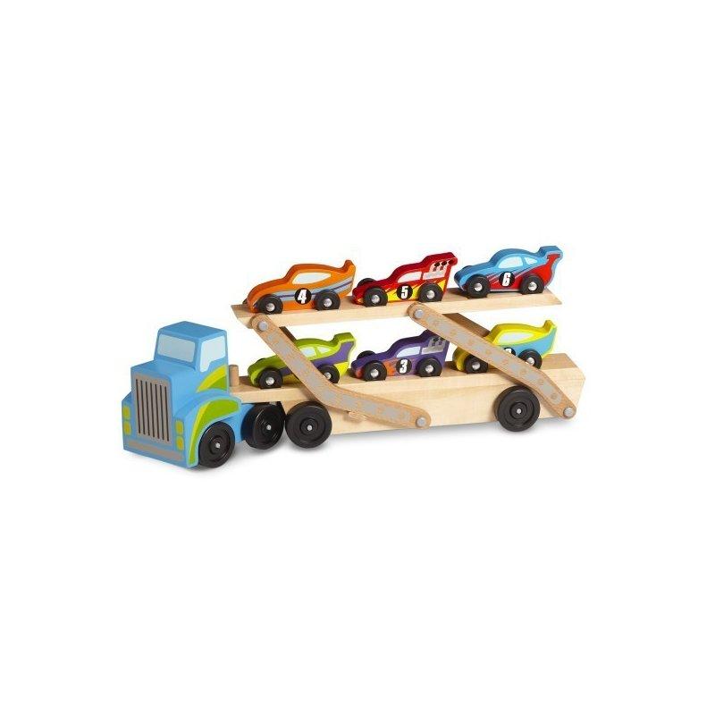 Transportor de masini gigant Melissa and Doug din categoria Jucarii de lemn de la Melissa & Doug