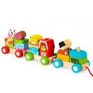 Ecotoys - Tren din lemn Cu blocuri, Cu sfoara