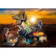 Playmobil - Set de constructie Triceratops - Batalia pentru piatra legendara , Dino Rise