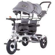 Chipolino - Tricicleta 2Play Mecanism de pedalare libera, Suport picioare, Scaun reversibil, Pentru gemeni , Gri