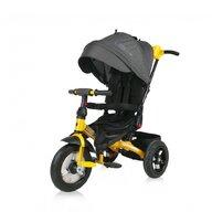 Lorelli - Tricicleta Jaguar Air Wheels Suport picioare, Control al directiei, Rotire 360 grade, Scaun reglabil, Galben/Negru