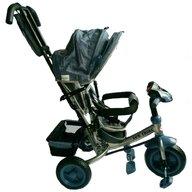 Baby Mix - Tricicleta Lux Trike Mecanism de pedalare libera, Suport picioare, Control al directiei, Spatar reglabil, Cu sunete si lumini, Gri/Negru