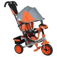 Baby Mix - Tricicleta Lux Trike Mecanism de pedalare libera, Suport picioare, Control al directiei, Spatar reglabil, Cu sunete si lumini, Gri/Portocaliu