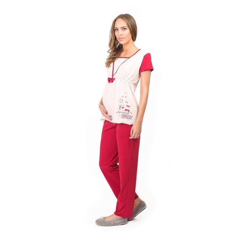 Uniconf – Pijama pentru alaptat Bordo L din categoria Lenjerie pentru gravide si proaspete mamici de la Uniconf