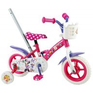 Volare - Bicicleta pentru fete 10 inch cu maner roti ajutatoare si cosulet Minnie Mouse