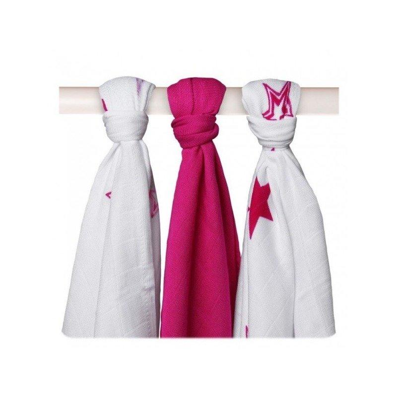 Xkko – Set 3 museline din bambus 70x70cm Stars Mix Pink din categoria Baita si accesorii de la Xkko